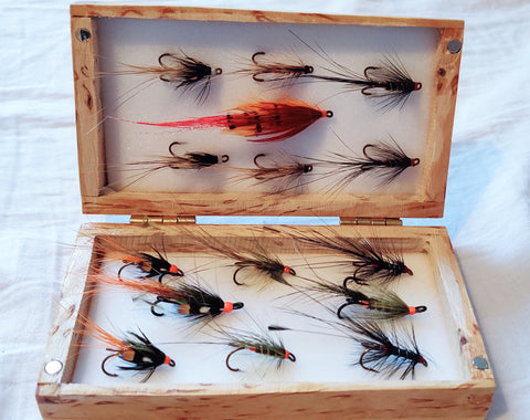 atlantic salmon flies wooden fly box