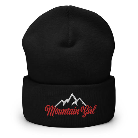 Mountain Girl Embroidered Cuffed Beanie