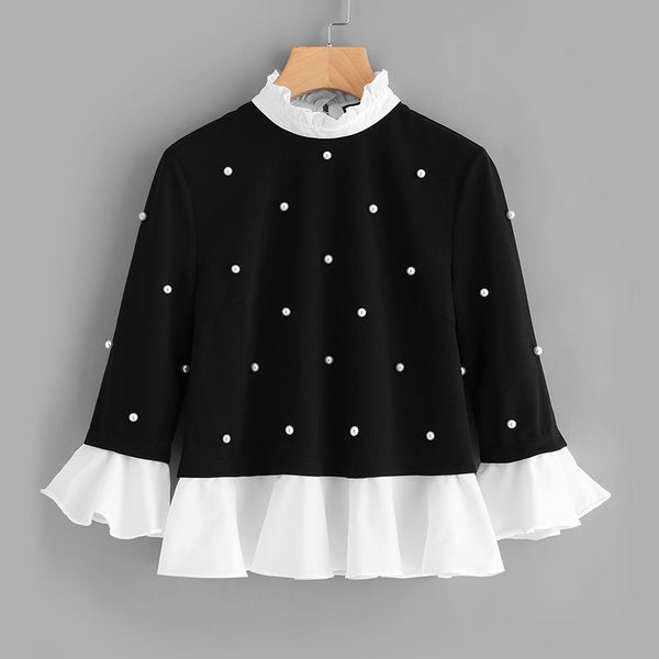 Contrast Pearl Black and White blouse - CocoLuxe11