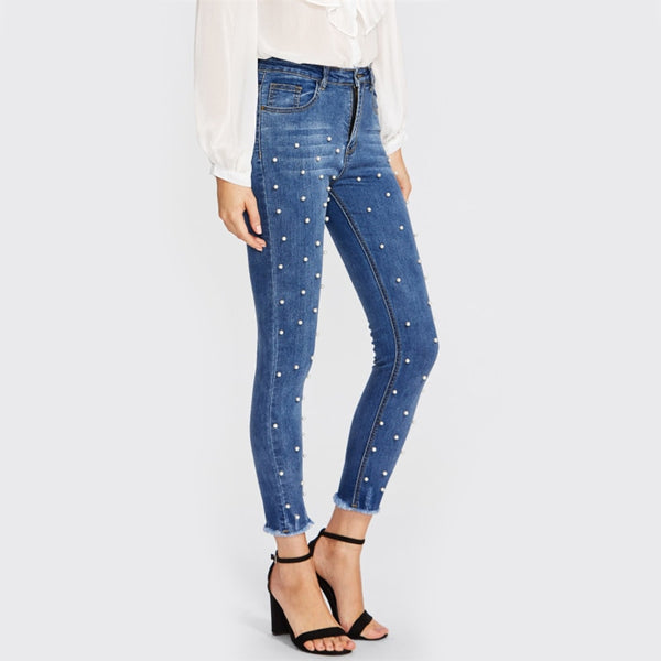 Pearl Beaded Frayed Hem Jeans Casual Skinny Jeans - CocoLuxe11