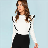 White Elegant Stand Collar Blouse - CocoLuxe11