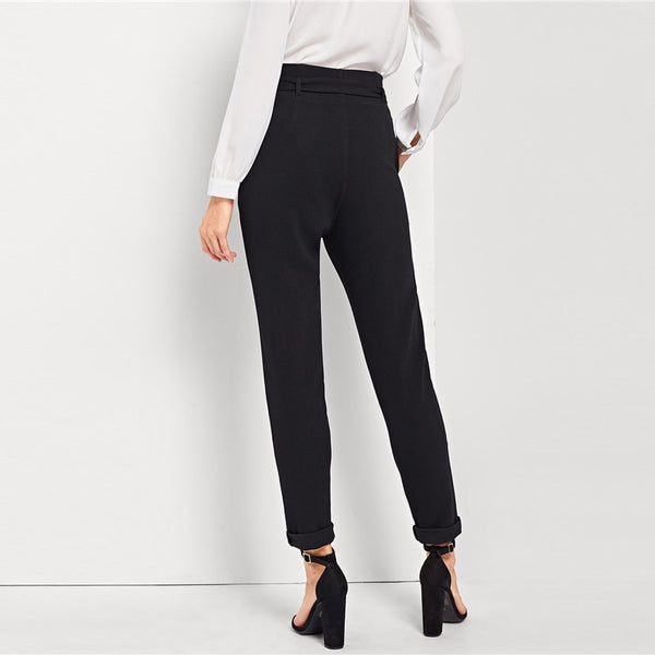 Black Belted Mid Pants - CocoLuxe11