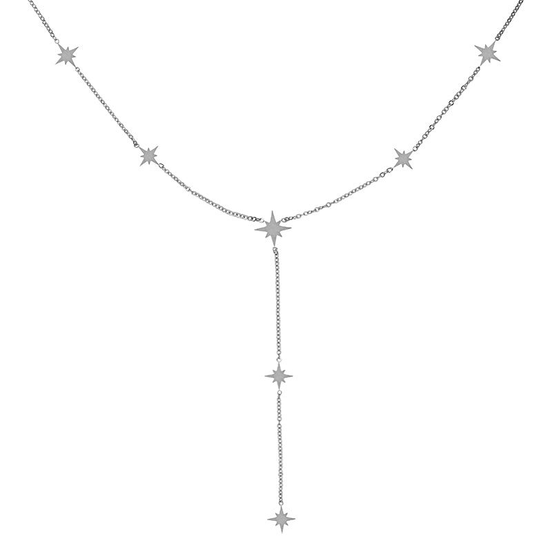 Women's Silver Northern Star Drop Necklace