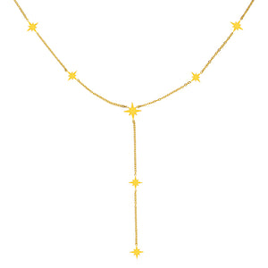 Womens Gold Northern Star Drop Necklace