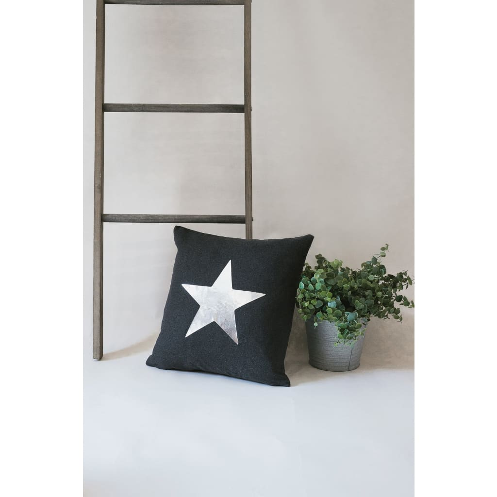 Charcoal Grey with Silver Star Luxury Star Statement Cushion
