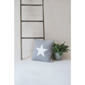 Dove Grey with Silver Star Luxury Star Statement Cushion -