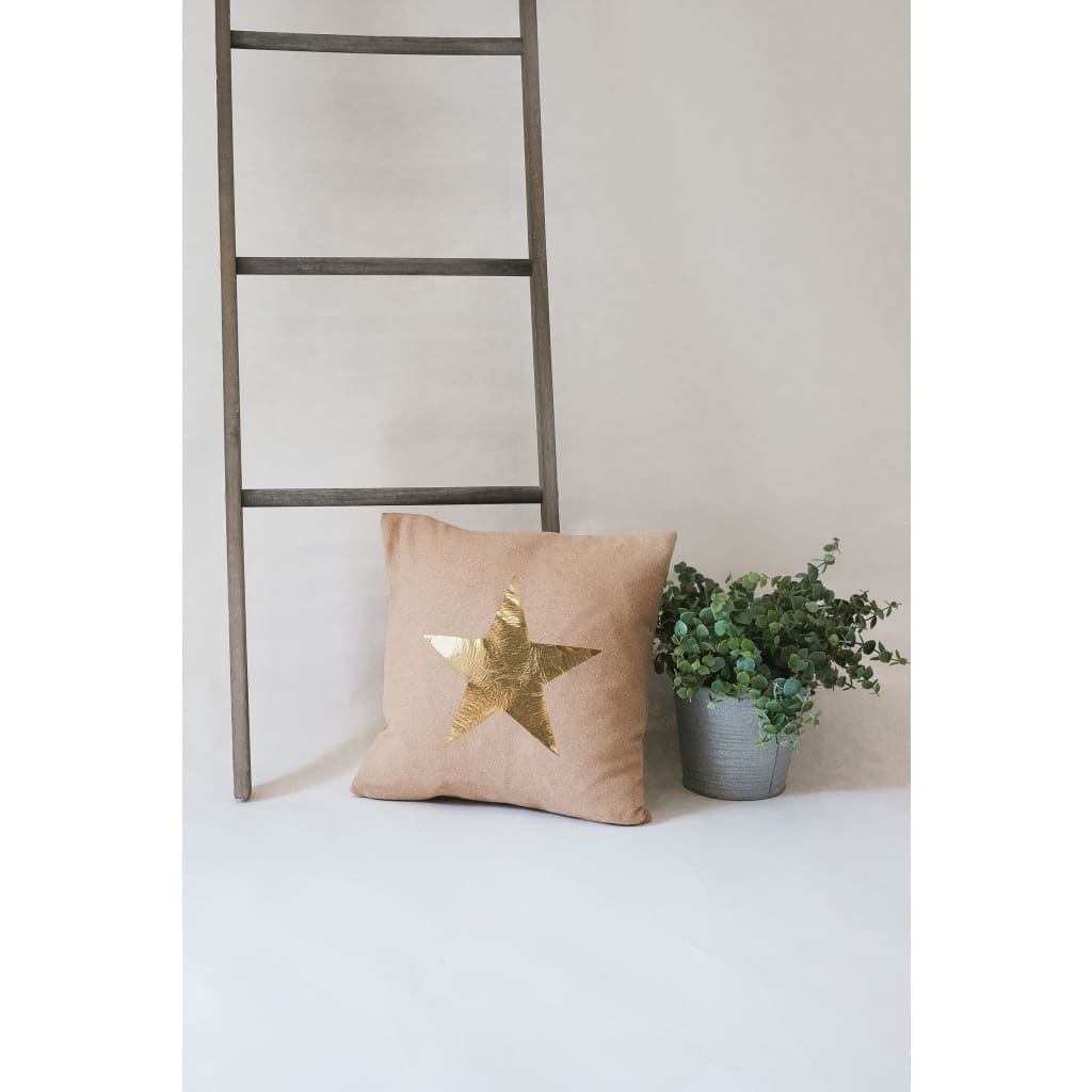 Tan with Gold Star Luxury Star Statement Cushion - Cushion