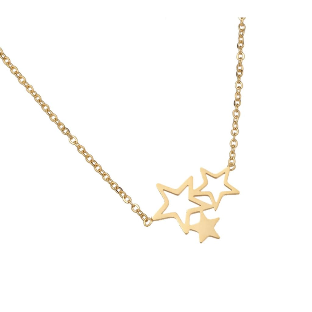 TRIO STAR Necklace -Gold - Necklace