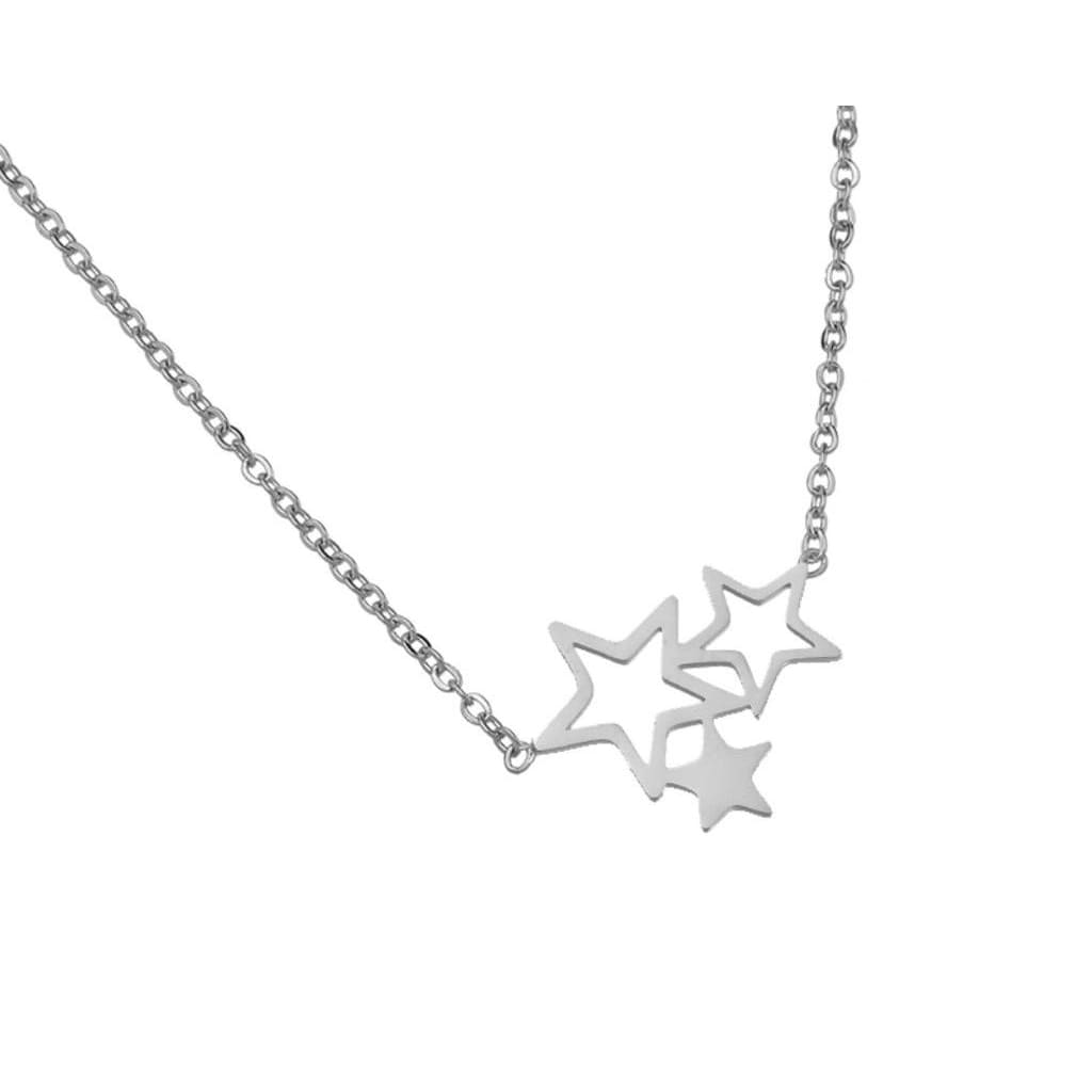TRIO STAR Necklace - Silver - silver - Necklace