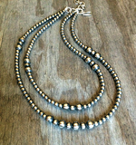 "Double Strand Navajo Pearl Necklace- 20"" Longest Strand"