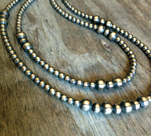 "Load image into Gallery viewer, Double Strand Navajo Pearl Necklace- 20"" Longest Strand"