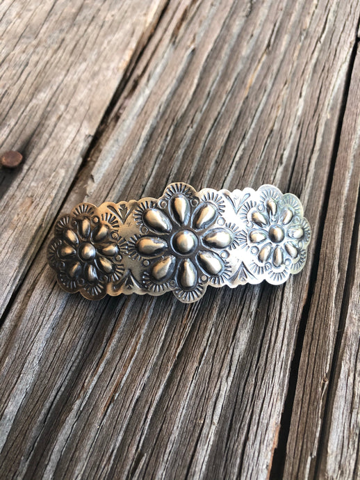 Sterling Silver Hand Stamped Hair Clip