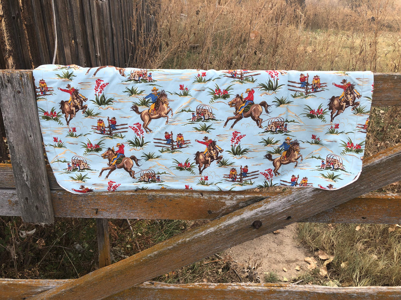 Out On The Wagon Western Baby Blanket