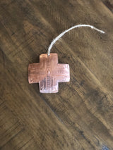 Copper Cross Christmas Ornament