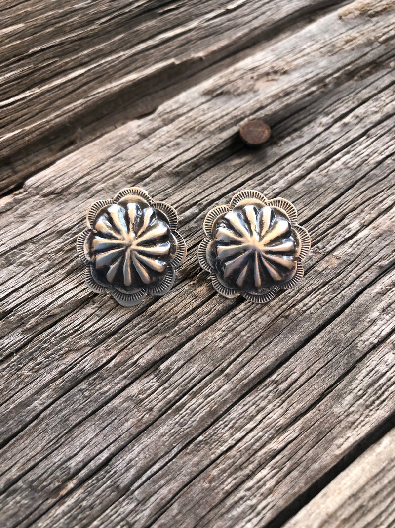 Rosette Sterling Silver Concho Earrings