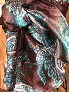 Paisley Turquoise and Brown Wild Rag Scarf