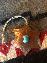 Load image into Gallery viewer, Copper & Turquoise Star Christmas Ornament
