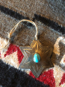 Silver Star Turquoise Christmas Ornament