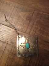 Silver Square Turquoise Christmas Ornament