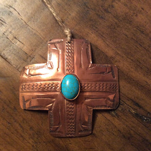 Copper & Turquoise Cross Christmas Ornament