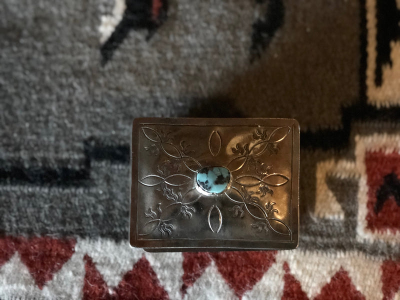 The Clarisa Turquoise & Silver Hand Samped Western Jewelry Box