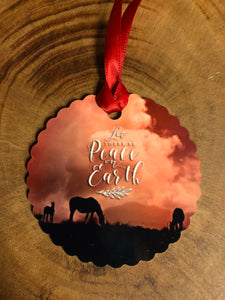 Peace on Earth Western Christmas Ornament