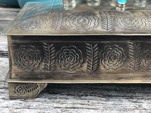 Load image into Gallery viewer, Silver Stamped Turquoise Keepsake Bible Box