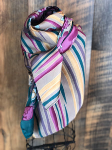 Turquoise and Pink Floral Stripe Wild Rag Scarf