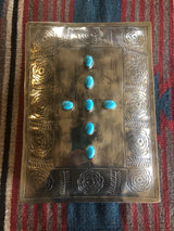 Silver Stamped Turquoise Keepsake Bible Box