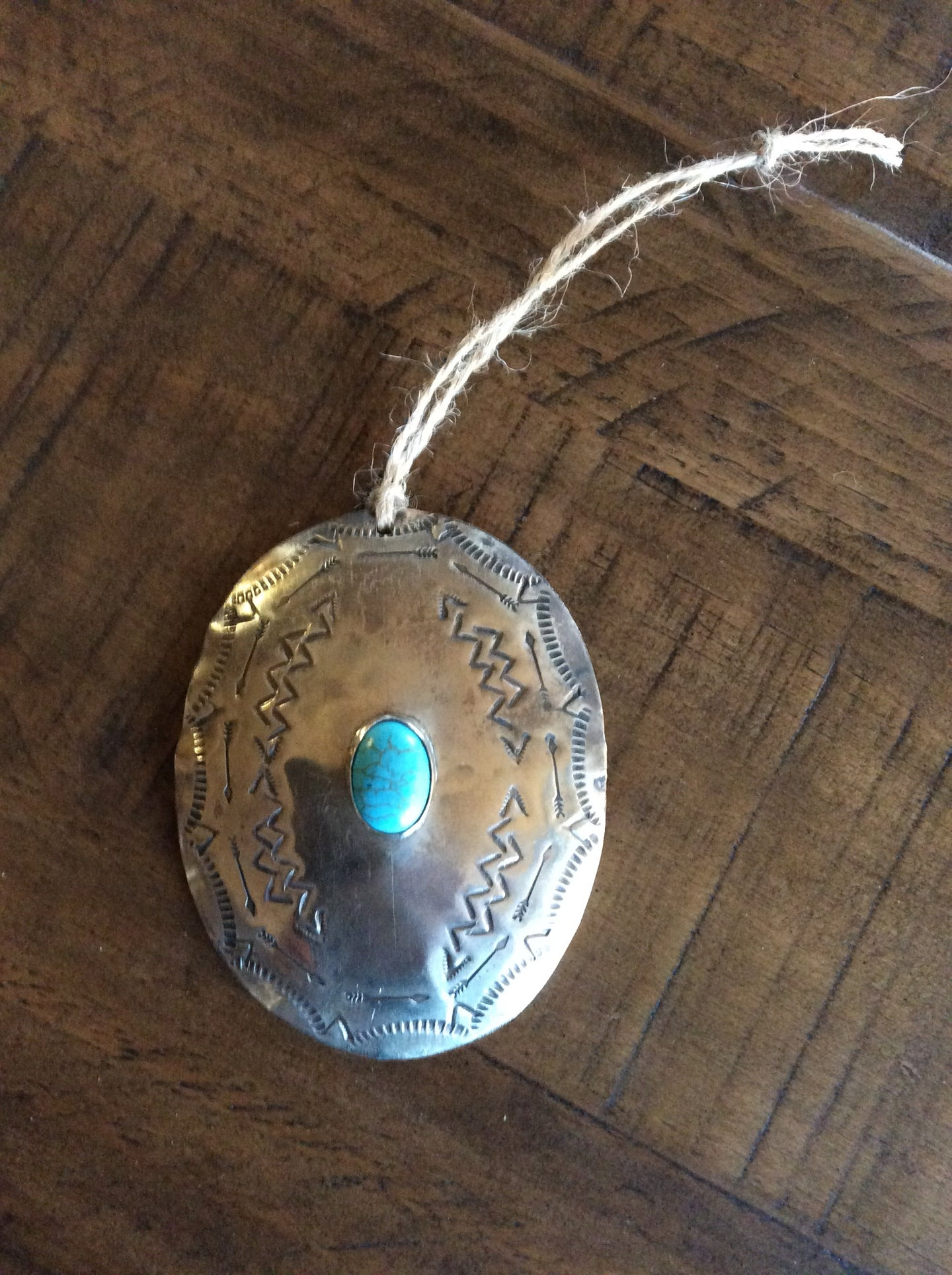 Silver & Turquoise Oval Christmas Ornament