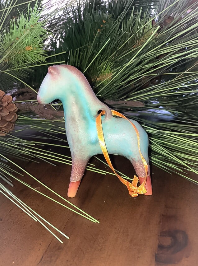 Glazed Turquoise Horse Christmas Ornament