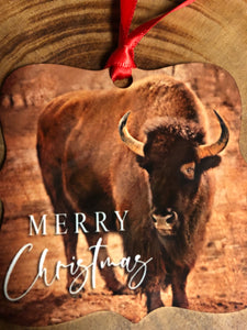 Merry Christmas Buffalo Christmas Ornament