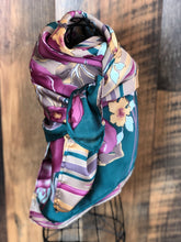 Load image into Gallery viewer, Turquoise and Pink Floral Stripe Wild Rag Scarf
