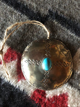 Load image into Gallery viewer, Silver Round Turquoise Christmas Ornament