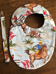 Out On the Range Western Baby Bib & Pacifier Clip