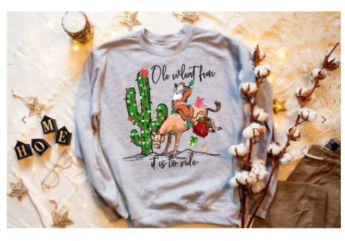 Oh, What Fun It Is To Ride Christmas Sweatshirt