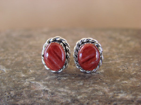 Radiant Red Spiny Oyster Oval Earrings