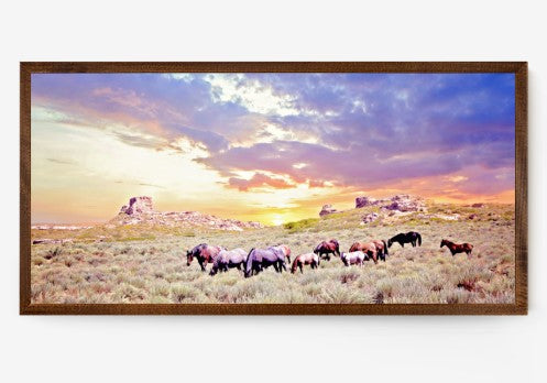 Sunrise at the Butte Western Horse Canvas Framed Wall Art
