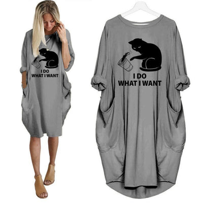Women's Cat Print Oversized T-Shirt - ''I DO WHAT I WANT''
