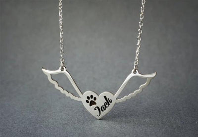 Angel Wings Engraved Necklace Heart