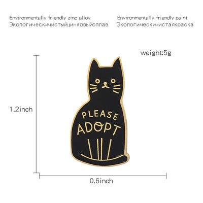 Black Cat Pin - ''Please Adopt''