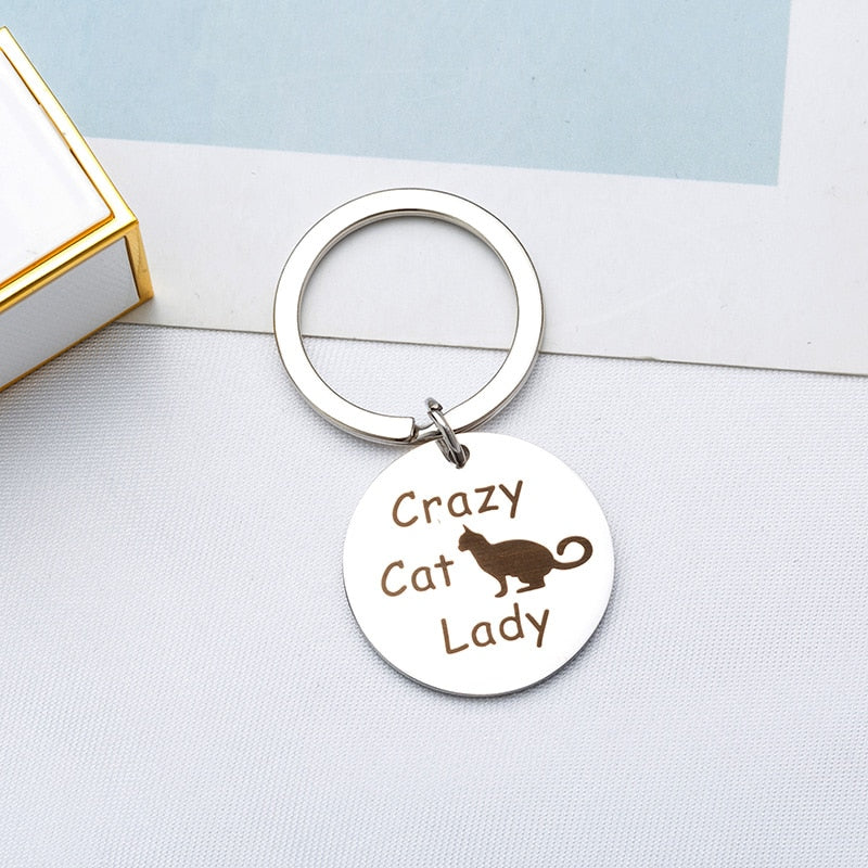 Round Cat Keychain - ''Crazy Cat Lady''