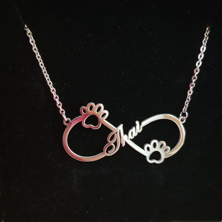 Personalized Name Paw-Infinity Pendant Necklace