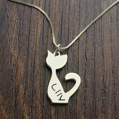 Personalized Cat Pendant Necklace