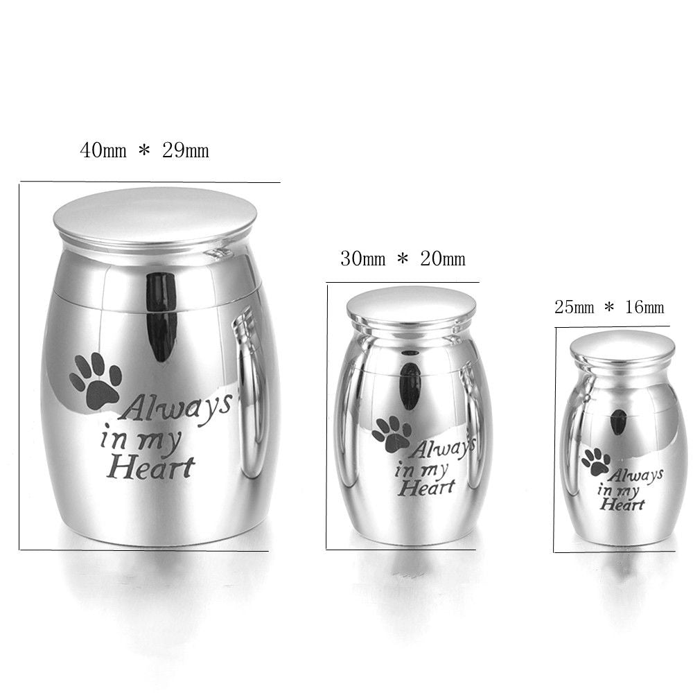 "Pet Cremation Mini Memorial Ash Keepsake Urn - ""Always in My Heart"""