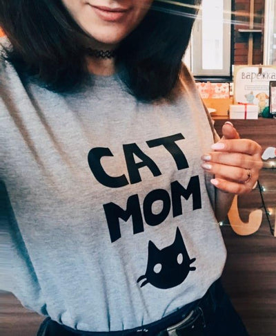 Women's Cat Print Short-Sleeve T-Shirt - ''Cat Mom''