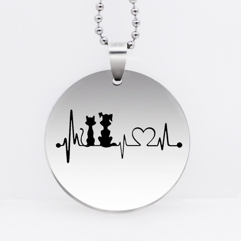Unisex Dog-Cat Heartbeat Pendant Necklace