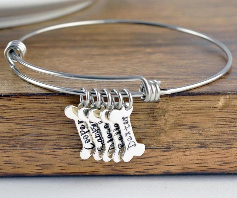 Personalized Bone Charm Bangle Bracelet 1-8 Bones