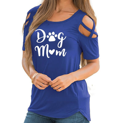 Women's Cold-Shoulder T-Shirt - ''Dog Mom''