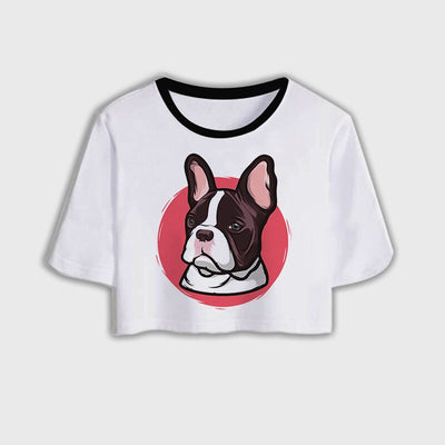 Women's Dog-Paw Print Crop Top - ''Dog Mom''